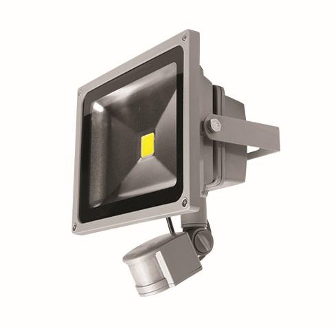 LEDMED COB LED VANA S venkovní reflektorové svítidlo se senzorem 20W, aluminium - neutrální