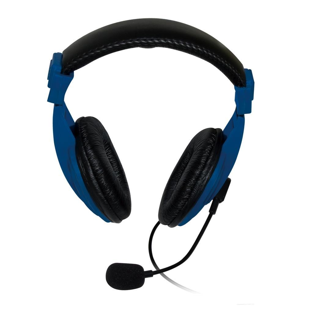 VAKOSS Stereofonní sluchátka s mikrofonem, na uši, ovládání hlasitosti Modrá