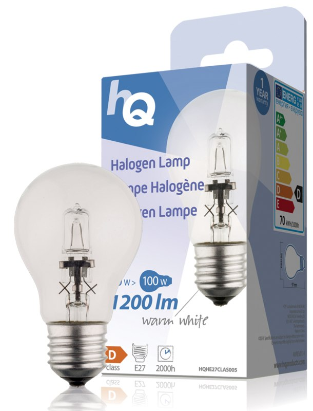 HQ halogenová žárovka Classic 70W, E27, 1200 lm