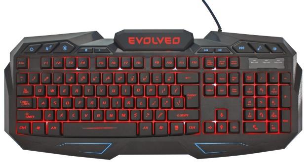 EVOLVEO GK680 herní podsvětlená klávesnice, 3 barvy podsvětlení, regulace intenzity, 10 multimed. kláves, USB