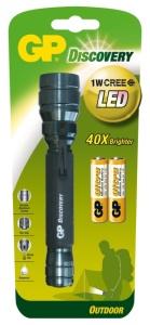 GP LED svítilna LOE102, 1W CREE LED (65 lumenů), 2x AA