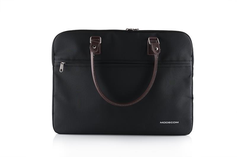 "Modecom taška Charlton na notebooky do velikosti 15,6"" černá, hnědá rukojeť, dámská"