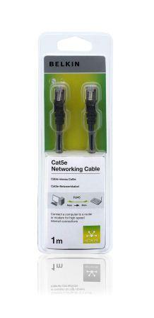 BELKIN Patch kabel Cat5E, RJ45, STP, černý, 1 m