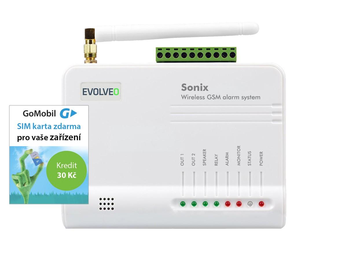 EVOLVEO Sonix - bezdrátový GSM alarm (4ks dálk. ovlád.,PIR čidlo pohybu,čidlo na dveře/okno,externí repro,Android/iPhone) + SIM