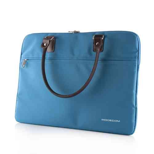 """Modecom taška CHARLTON na notebooky do velikosti 15,6"""" modrá, hnědá rukojeť, dámská"""