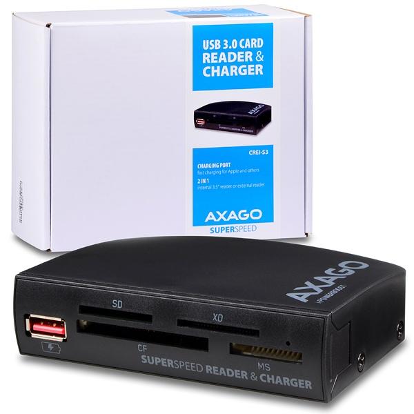 AXAGO - CREI-S3 ext./int. USB 3.0 4-slot čtečka ALL-IN-ONE