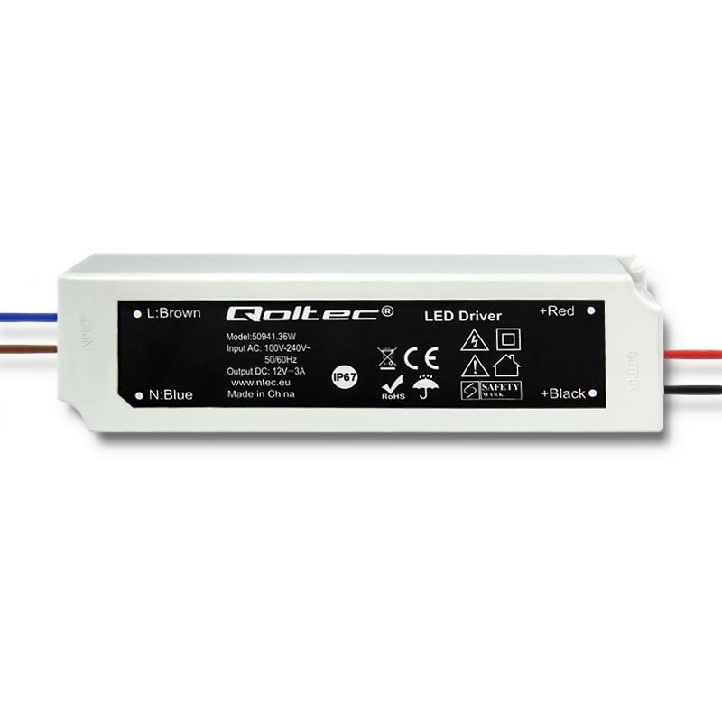 Qoltec Impulse power supply | IP67 | 100V-240V | 36W | 12V | 3A
