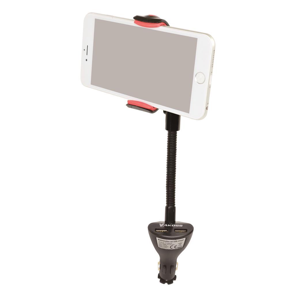 VAKOSS Multifunkční nabíječka pro automobily USB s držákem TP-3280UK 2xUSB, 2,1A