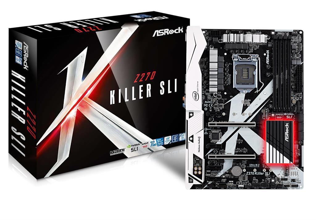 ASRock Z270 Killer SLI, INTEL Z270 Series,LGA1151,4 DDR4, 3xM.2(2for SSD,1Wi-Fi)