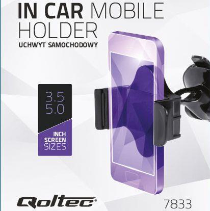 Qoltec Nastavitelný držák na sklo auta pro smartphone 3.5- 5.0''
