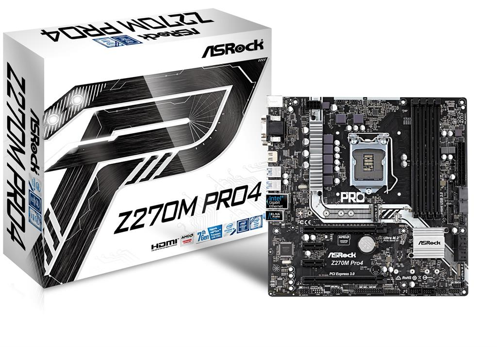 ASRock Z270M Pro4, INTEL Z270 Series, LGA1151,4 DDR4, 2 x M.2 (for SSD)