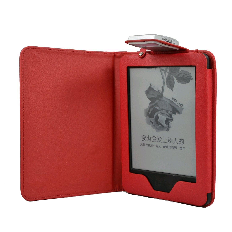 C-TECH pouzdro Kindle 6 Touch s lampičkou, červené