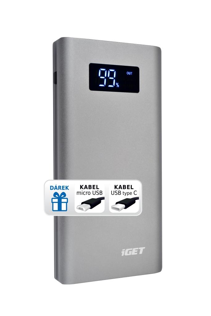 iGET POWER B-10000G (10 000 mAh) kovová Li-Pol powerbank šedá, LCD, kabel microUSB + USB-C