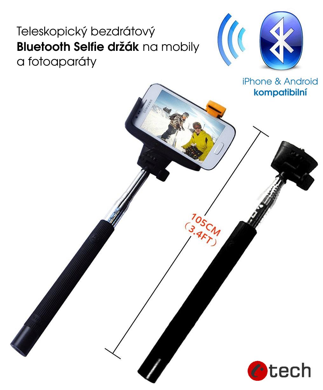C-TECH Teleskopický selfie držák BT spoušť, černý
