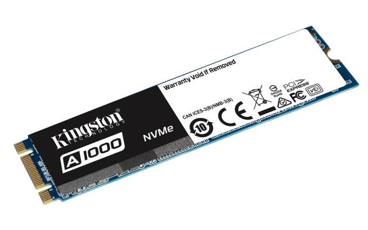 Kingston SSD 960GB A1000 PCIe NVMe Gen3x2 M.2 2280 TLC (čtení/zápis: 1500/1000MB/s; 120/100K IOPS)