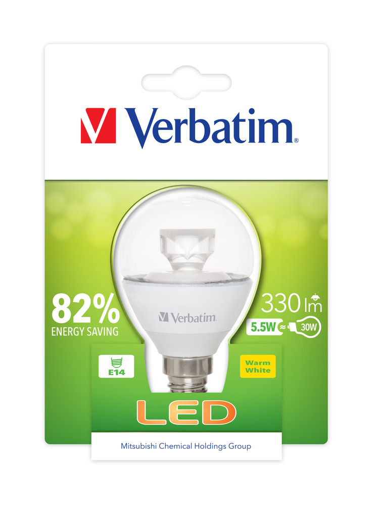 VERBATIM LED žárovka,LED Mini Globe E14 5.5W 2700K WW 350LM Clear