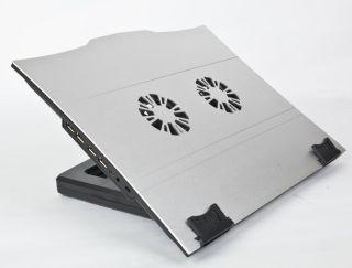 Gembird podstavec pro notebook, 2 ventilátory, USB hub,nastavitelný uhel sklonu