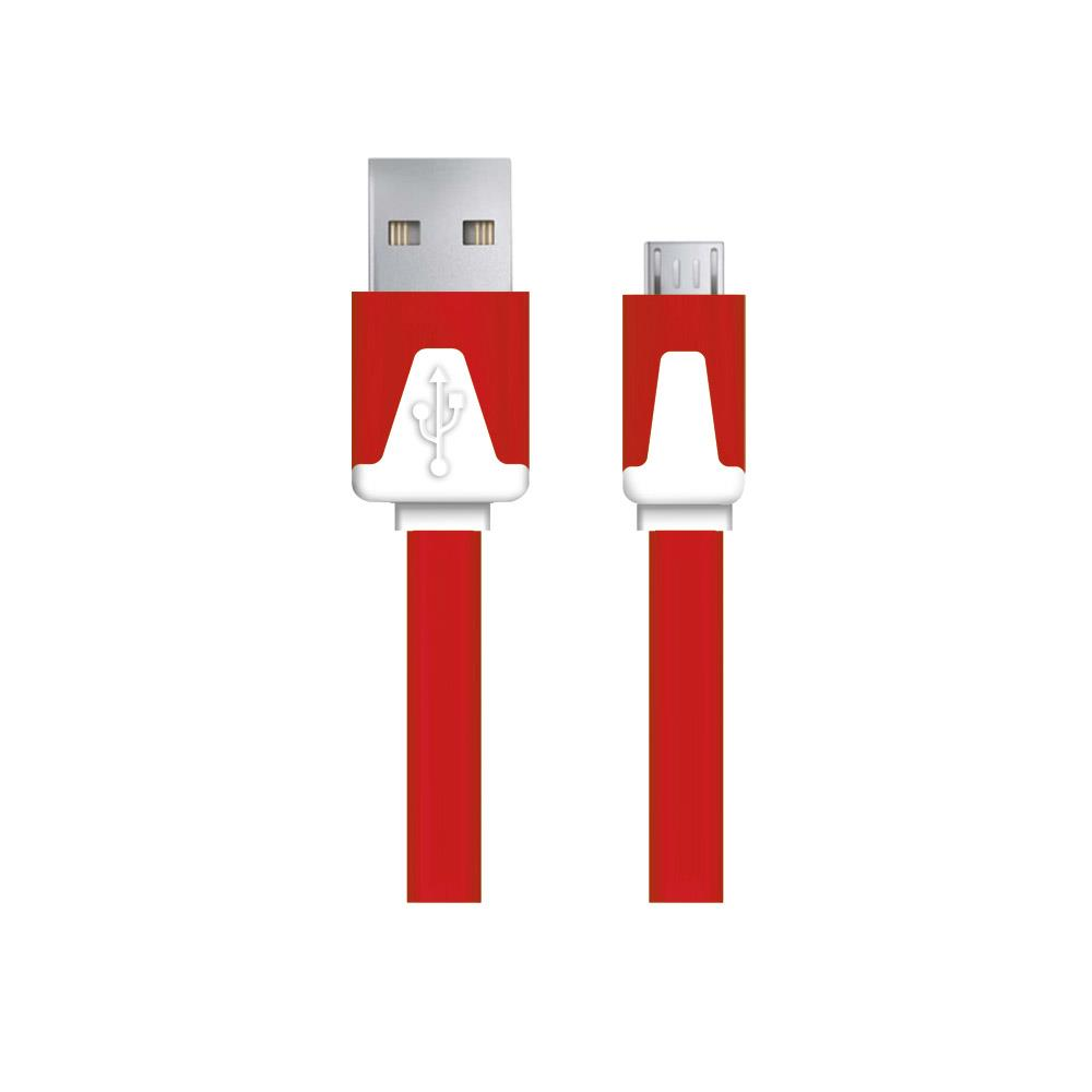 Esperanza EB183R kabel Micro USB 2.0 A-B M/M 1.0m, plochý, červený