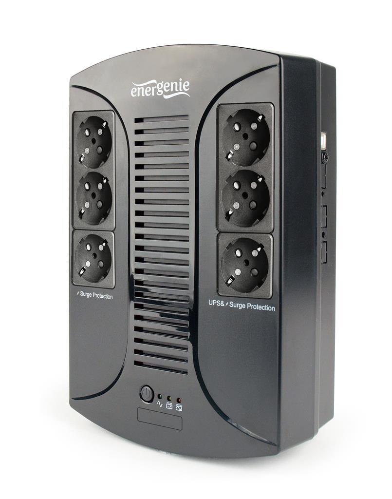 Energenie UPS 850VA, AVR, LED, 6x zásuvka, USB, 230V