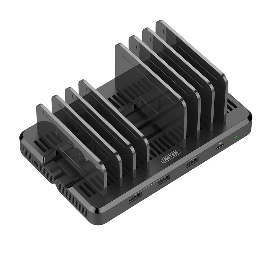Unitek nabíjecí dokovací stanice 6x USB 2,4A, 1x QC3.0, 1x USB-C PD, 120W
