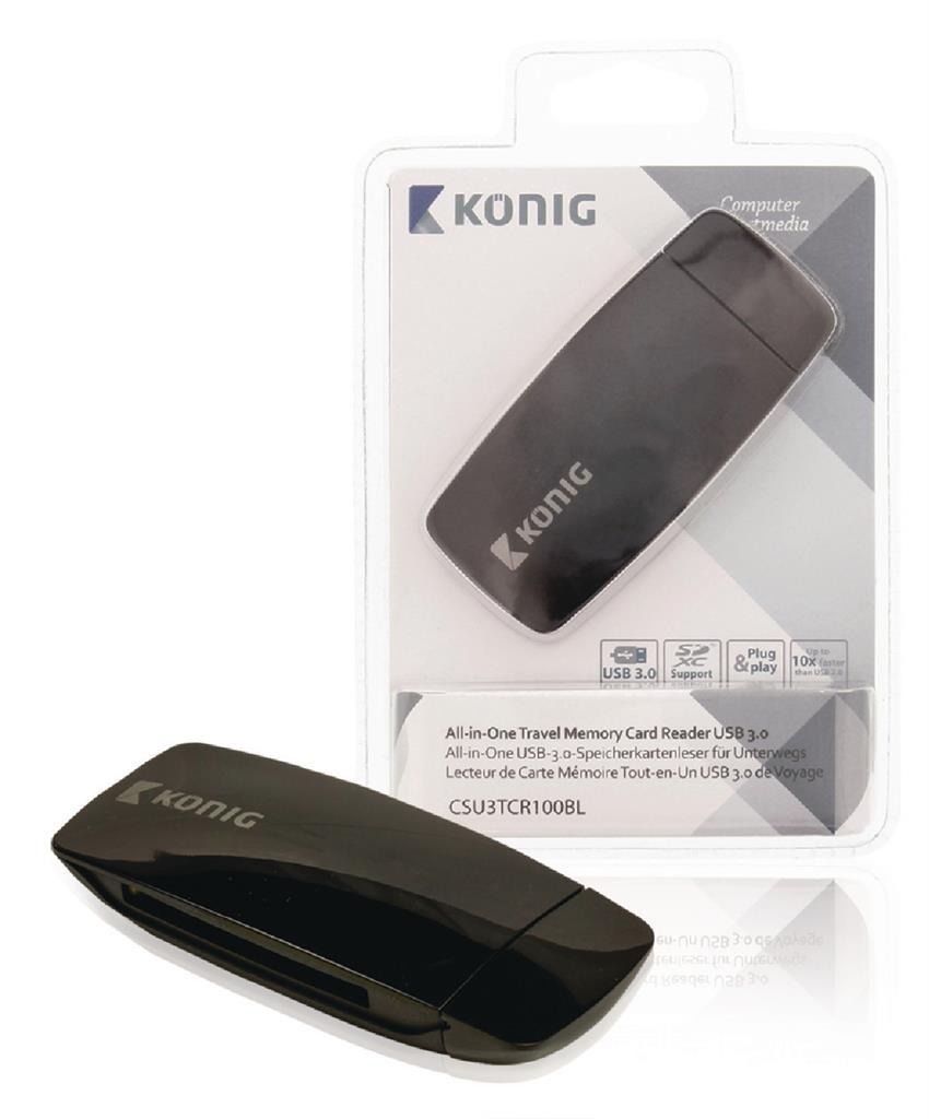 Konig Univerzální cestovní čtečka paměťových karet, USB 3.0
