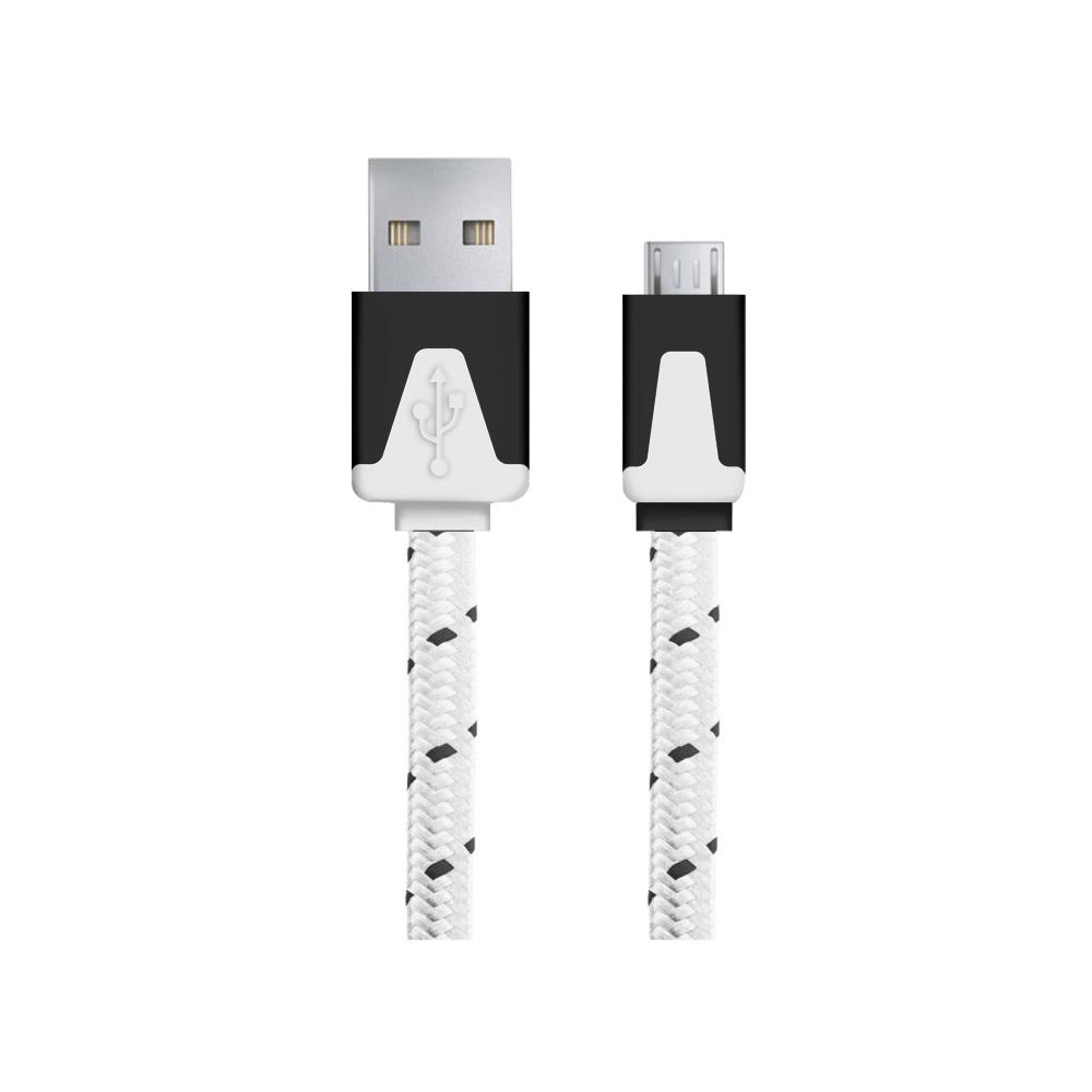 Esperanza EB176W kabel Micro USB 2.0 A-B M/M, opetený, plochý, 1.0m, bílý