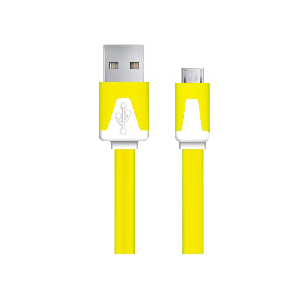 Esperanza EB183Y kabel Micro USB 2.0 A-B M/M 1.0m, plochý, žlutý