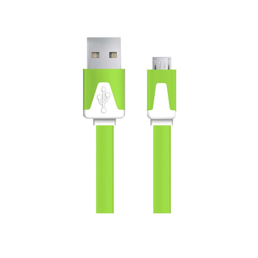 Esperanza EB183G kabel Micro USB 2.0 A-B M/M 1.0m, plochý, zelený