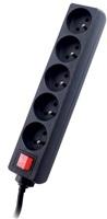 Tracer PowerPatrol prodlužovací přívod (5 zásuvek), vypínač, 1.8m, černý