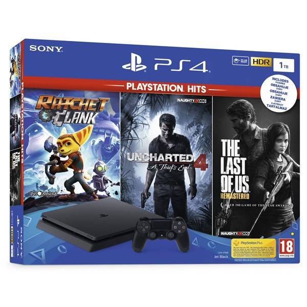 SONY PlayStation 4 Slim - 1TB + TLOU + U4 + R&C