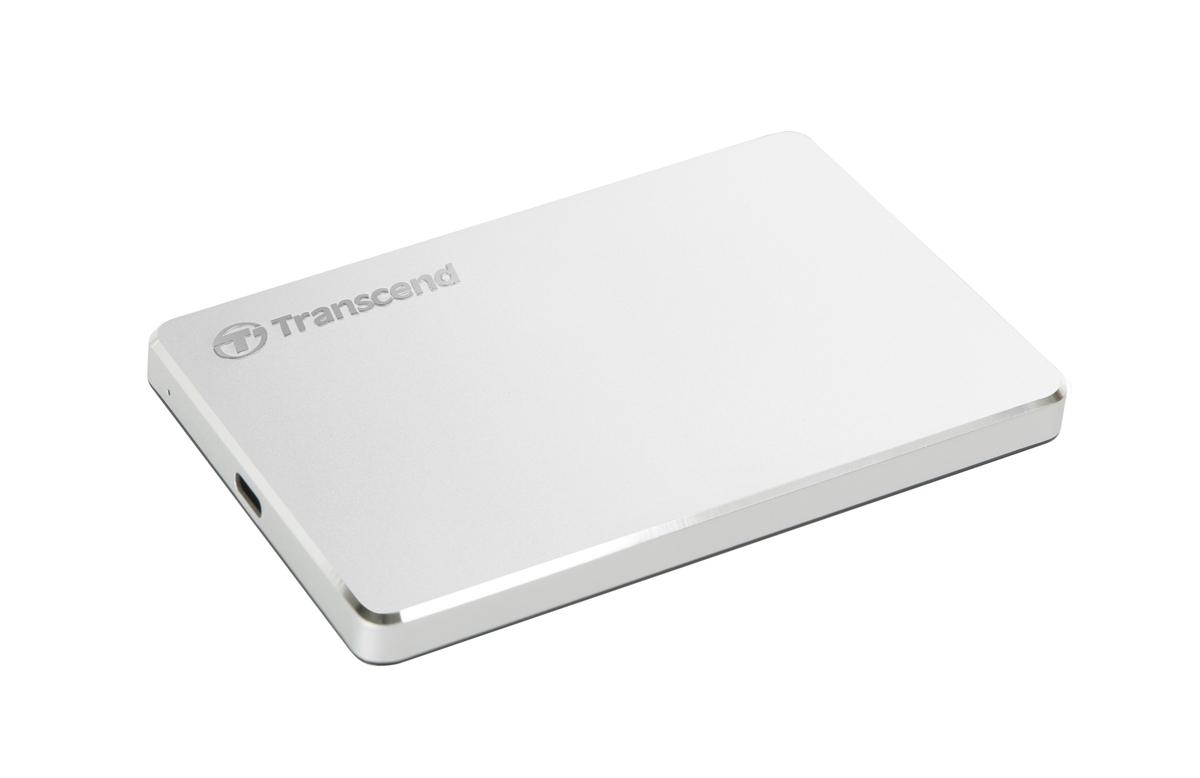 Transcend StoreJet 200, 2TB, USB 3.1 Gen 1 Type-C (USB-C) Stylový externí hard disk, ultra-tenký, stříbrný