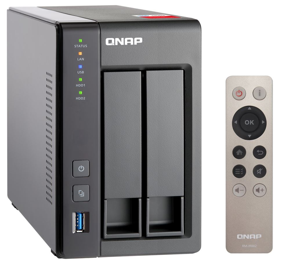 QNAP SOHO TS-251+-8G, 2-bay, Tower, Intel Celeron 2.0 GHz Quad Core, 8GB DDR3L, 2 x GbE