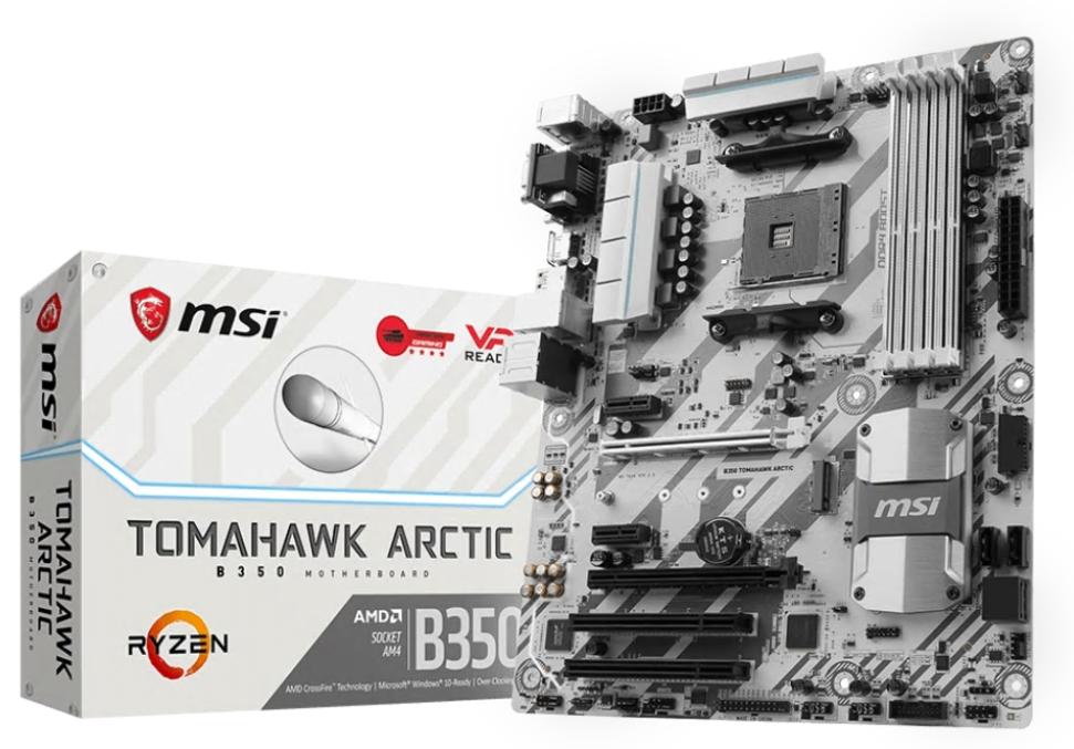 MSI B350 TOMAHAWK ARCTIC, AM4, 4xDDR4, 2xPCI-Ex16, 4xSATA3 ,8xUSB3.1