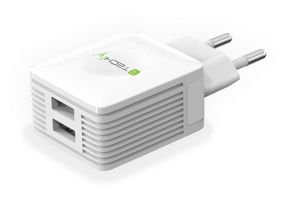 Techly Dvouportová USB nabíječka 230V -> 2x USB 5V 2.1A & 2.1A bílá