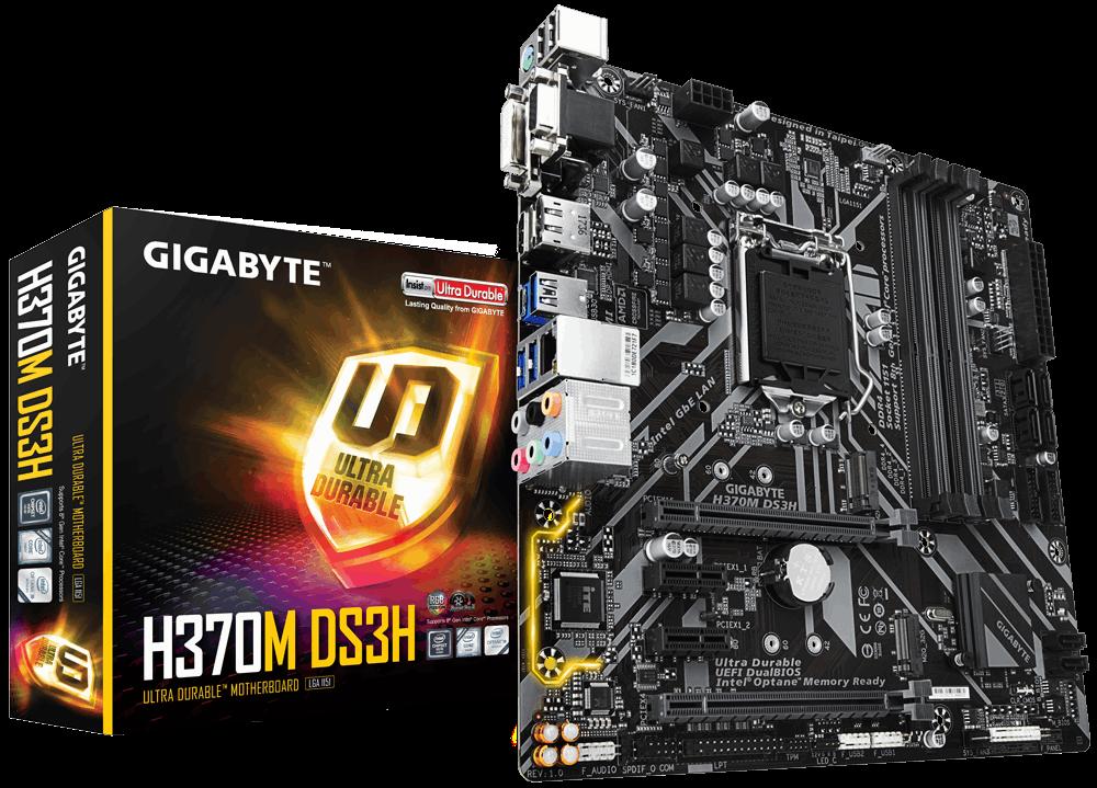 Gigabyte H370M DS3H, DDR4, PCI-E 3.0 x16, HDMI/DVI-D