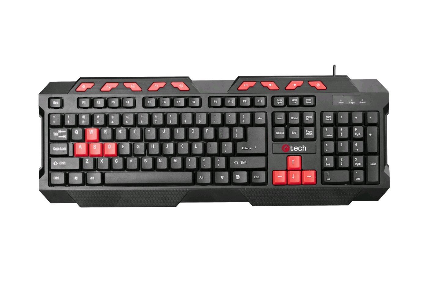 C-TECH klávesnice GMK-102-R, USB, černo-červená, multimediální, CZ/SK