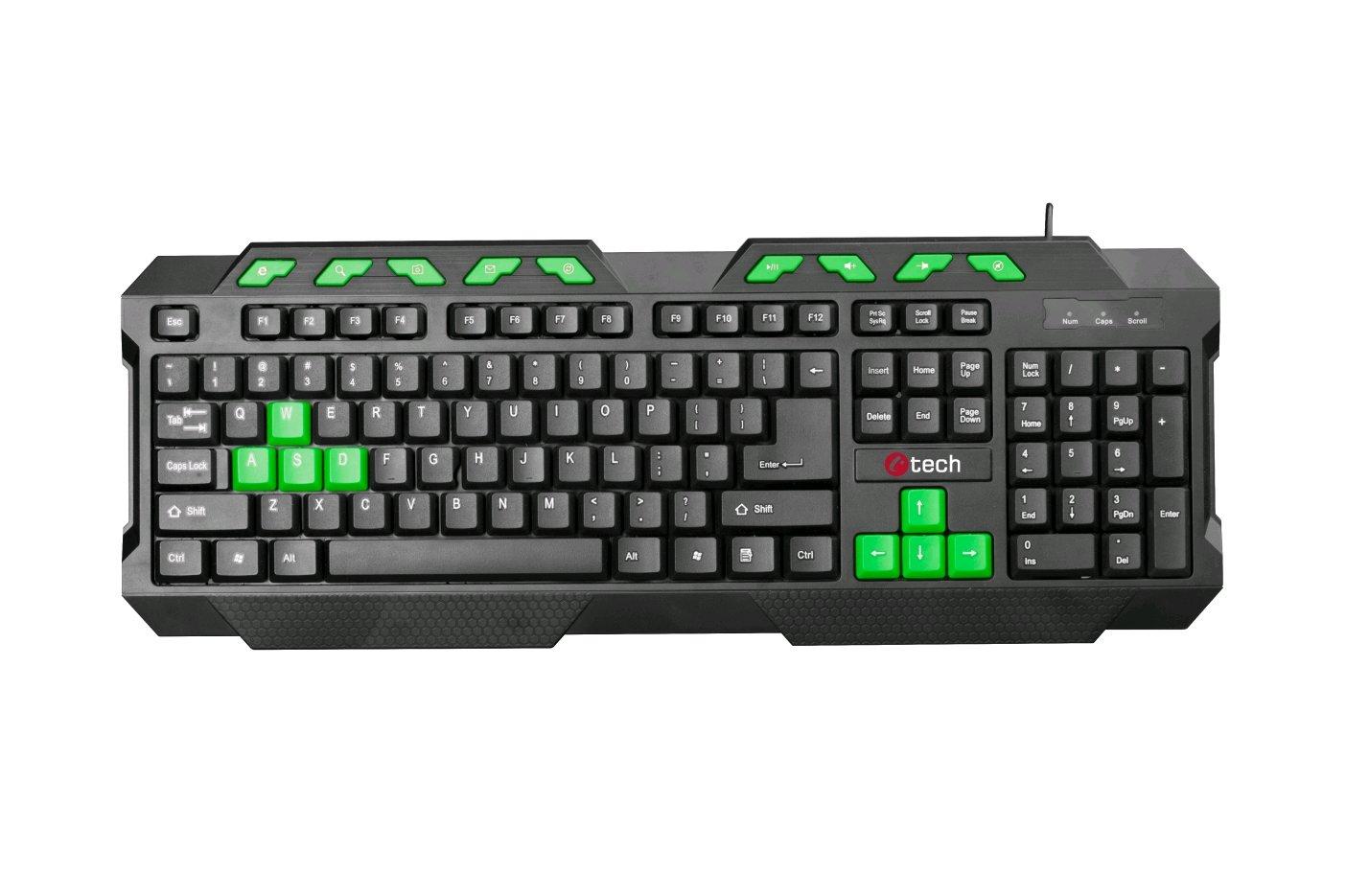 C-TECH klávesnice GMK-102-G, USB, černo-zelená, multimediální, CZ/SK