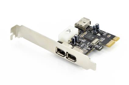 DIGITUS Add-On Card Firewire (400) PCI Express, 2xExt. 1xInt. IEEE1394a 6pin