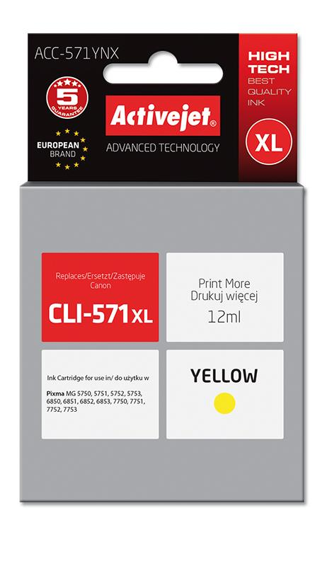 ActiveJet ink Canon CLI-571Y XL new ACC-571YNX 12 ml