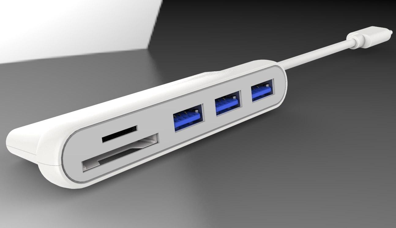 PremiumCord HUB USB-C - 3xUSB3.0 + čtečka SD karet