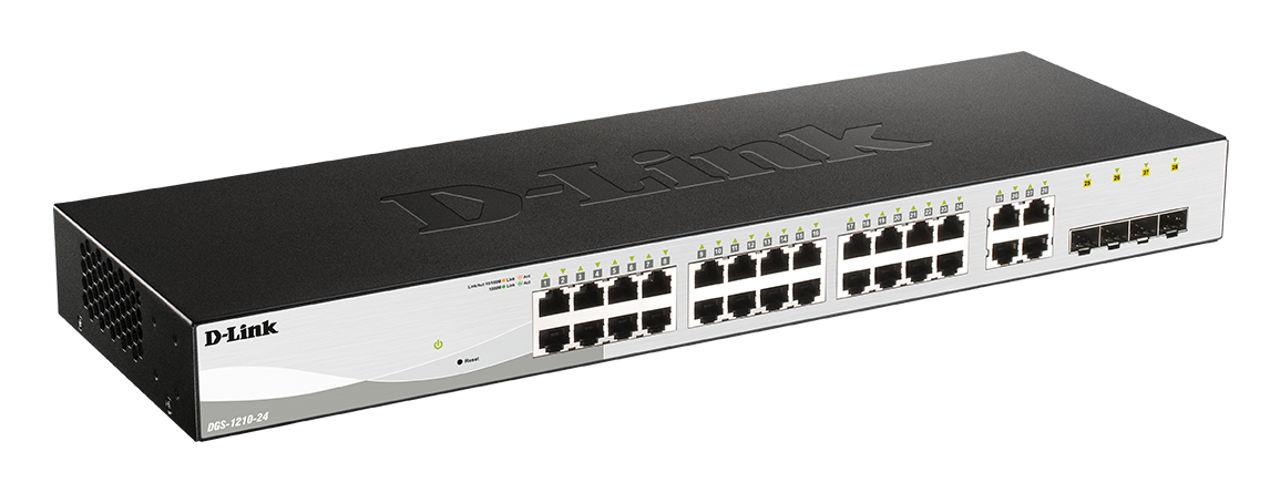 D-Link DGS-1210-24 Smart switch, 24x GbE, 4x RJ45/SFP, fanless