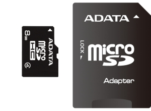 ADATA micro SDHC karta 8GB Class 4 + adaptér SDHC