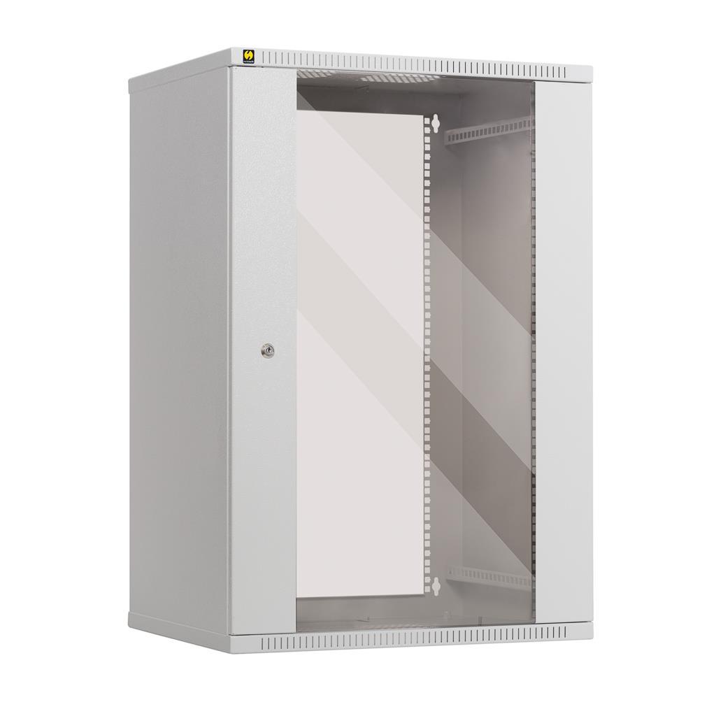 Netrack závěs./stoj. rack 19'' 18U/450 mm, skleněné dveře, barva popelavá