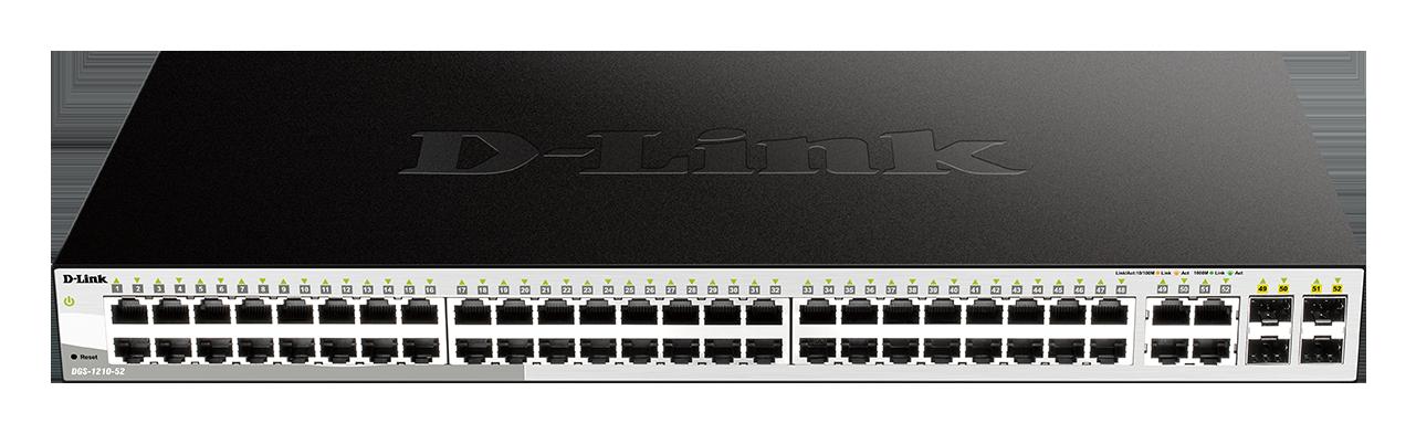D-Link DGS-1210-52 L2/L3 Smart+ switch, 48x GbE, 4x RJ45/SFP, fanless
