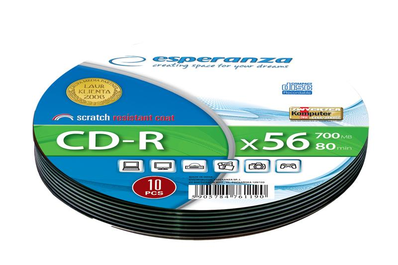 Esperanza CD-R [ Soft Pack 10 | 700MB | 52x | Silver ]