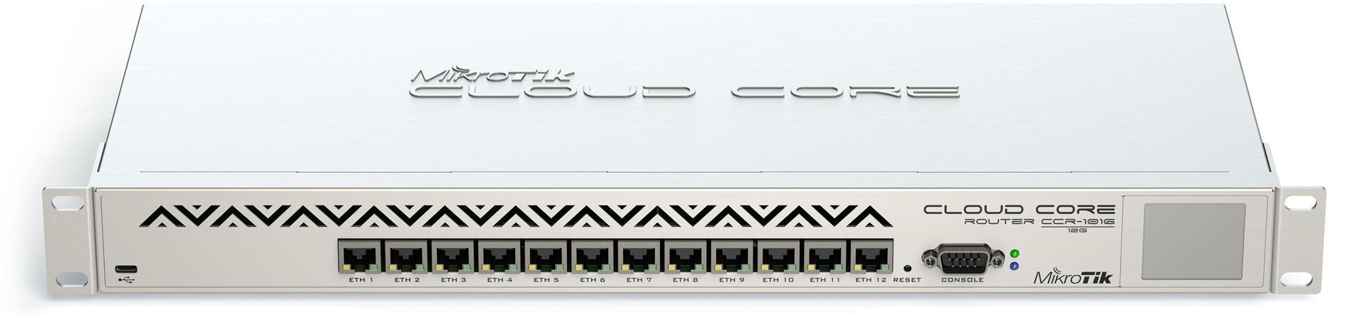 MikroTik Cloud Core Router CCR1016, 12x Gbit LAN, dotykové LCD, vč. L6