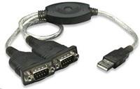 MANHATTAN převodník z USB na 2x sériový port (USB AM/DB9M(2), RS232)
