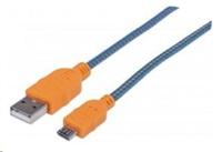 MANHATTAN Kabel USB 2.0 A-Micro B propojovací 1m, opletený (modrá/oranžová), Polybag