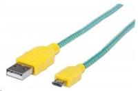 MANHATTAN Kabel USB 2.0 A-Micro B propojovací 1m, opletený (modrozelená/žlutá)