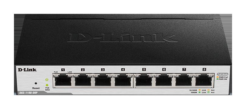 D-Link DGS-1100-08P 8-Port Gigabit PoE Smart Switch (8 x PoE ports, fanless)